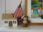 Patriotic house & teddy bear